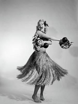 1950s 1960s Barefoot Laughing Blonde Art Print