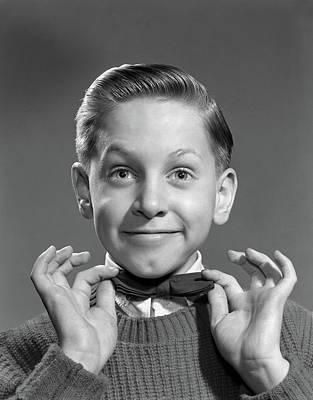 1950s 1960s Boy Adjusting Bow Tie Art Print