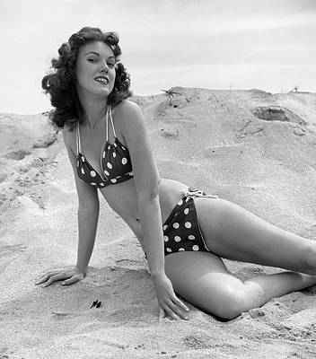 Provocative Photograph - 1950s 1960s Brunette Bathing Beauty by Vintage Images