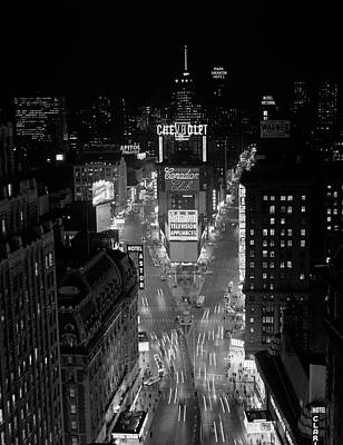 1950s 1960s Night Aerial View Times Art Print
