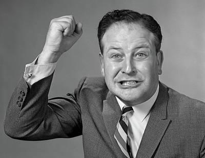 1950s 1960s Portrait Of Angry Man Art Print