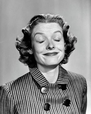 1950s 1960s Portrait Woman Smiling Eyes Art Print