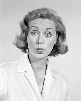 Bug Eyes Photograph - 1950s 1960s Portrait Woman With Shocked by Vintage Images