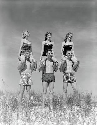 One Piece Swimsuit Photograph - 1950s 1960s Three Couples At Beach by Vintage Images