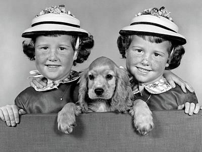 1950s 1960s Twin Girls Wearing White Art Print