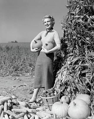 1950s 1960s Woman Standing By Corn Art Print