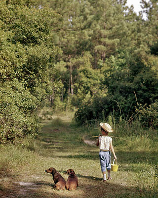 Country Lanes Photograph - 1950s 1960s Young Girl Walking by Vintage Images