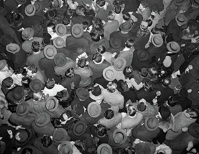1950s Aerial View Of Crowd Of Men Art Print