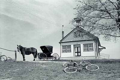 Schoolroom Photograph - 1950s Amish One-room Schoolhouse At Top by Vintage Images
