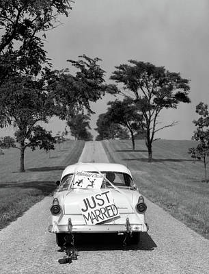 1950s Back Of White Ford Sedan Driving Art Print