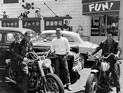 Playlands Photograph - 1950s Bikers At Playland by Underwood Archives