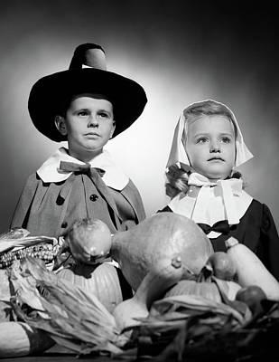 1950s Boy & Girl In Pilgrim Costumes Art Print