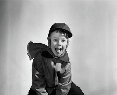 Muffler Photograph - 1950s Boy Dressed For Winter Hat Scarf by Vintage Images