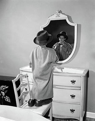 1950s Boy Dressed In Fathers Hat Coat & Art Print