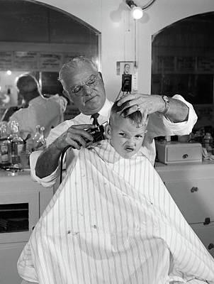 1950s Boy In Barbershop Getting Art Print