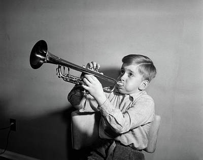 Trumpet Photograph - 1950s Boy Playing Trumpet Horn by Vintage Images