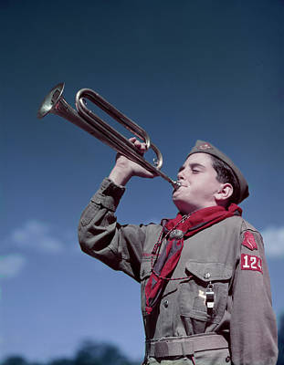 Boy Scouts Photograph - 1950s Boy Scout Blowing Bugle by Vintage Images