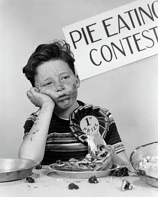 1950s Boy Wins 1st Prize At Pie-eating Art Print