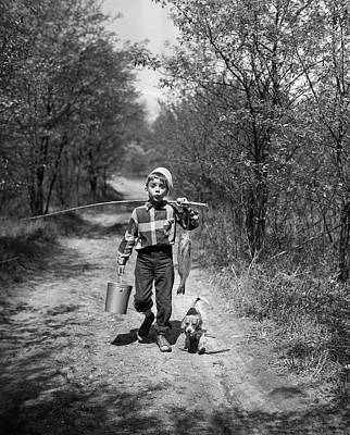 Beagle Photograph - 1950s Boy With Beagle Puppy Walking by Vintage Images