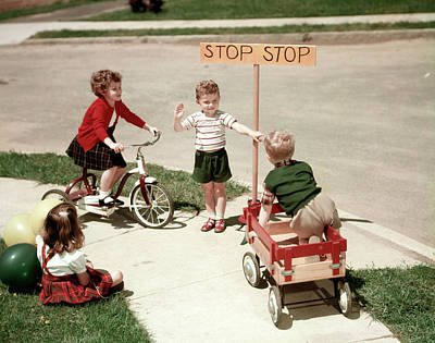 1950s Boys And Girls Outdoor Art Print