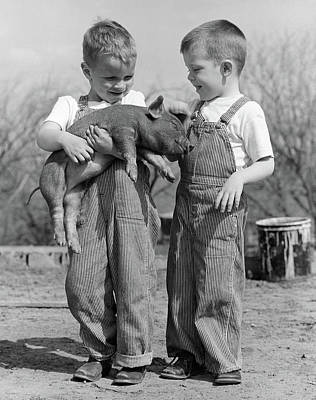 1950s Boys In Striped Overalls Holding Art Print