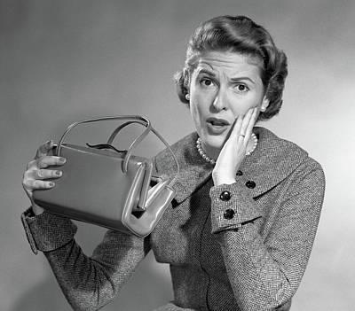 Self Shot Photograph - 1950s Broke Woman Surprised Facial by Vintage Images
