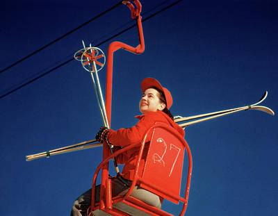 1950s Brunette Woman Red Ski Hat Jacket Art Print