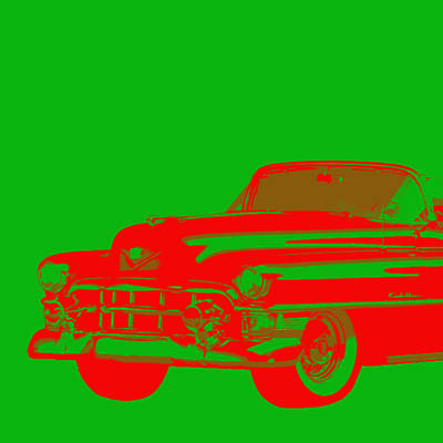 1950s Cadillac Red On Green Abstract Art Print by Karl Jones