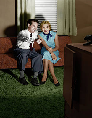 Venetian Blinds Photograph - 1950s Couple In Darkened Living Room by Vintage Images