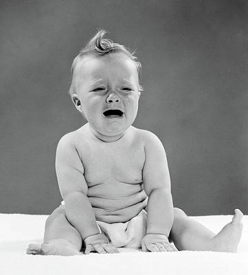 Loud Photograph - 1950s Crying Baby Seated by Vintage Images
