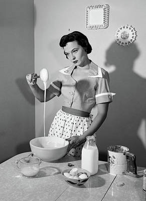 1950s Distracted Housewife Mixing Art Print