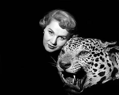 Large Cats Photograph - 1950s Dramatic Face Shot Woman Looking by Vintage Images