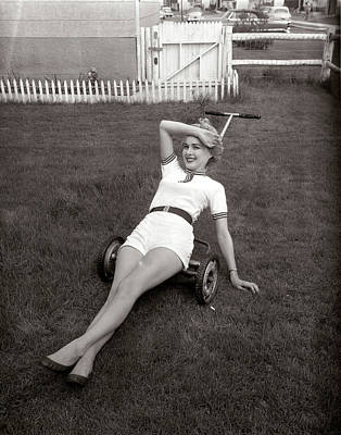Mower Photograph - 1950s Exhausted Woman Wearing White by Vintage Images