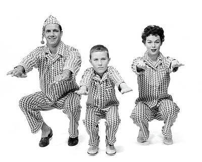 Night Caps Photograph - 1950s Family Of 3 In Matching Pajamas by Vintage Images