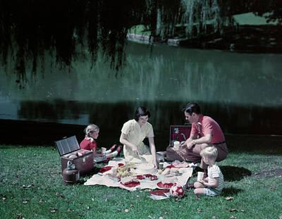 1950s Family Picnic By Pond Lake Mom Art Print