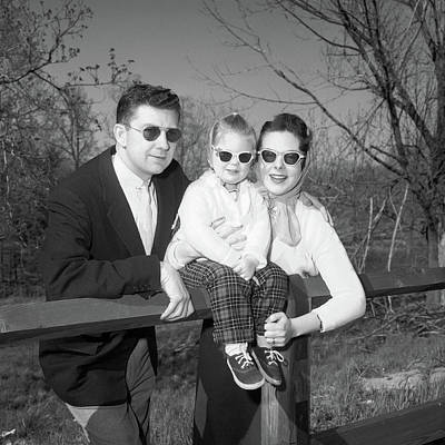 Snapshots Wall Art - Photograph - 1950s Family Portrait With Sunglasses by Vintage Images