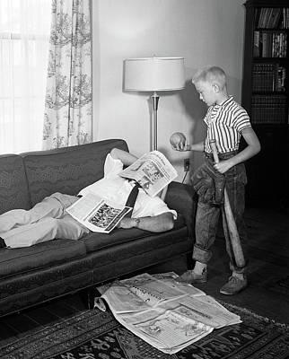 1950s Father Lying On A Sofa Art Print