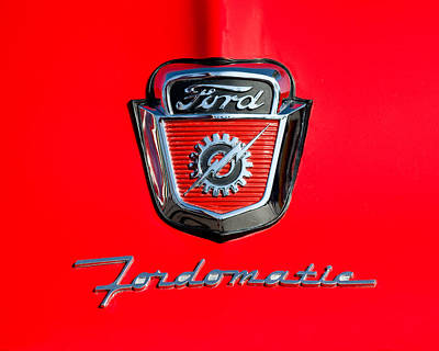 1950's Ford F-100 Fordomatic Pickup Truck Hood Emblems Art Print by Jill Reger