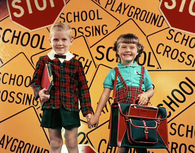 Stop Sign Photograph - 1950s Girl And Boy With Bookbag by Vintage Images