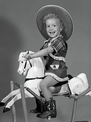 1950s Girl Dressed As Cowgirl Riding Art Print