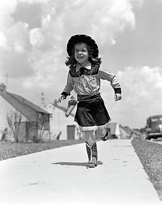 1950s Girl In Cowgirl Outfit Running Art Print