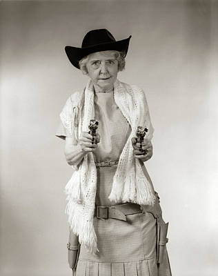 Self Shot Photograph - 1950s Granny Cowgirl Wearing Hat & by Vintage Images