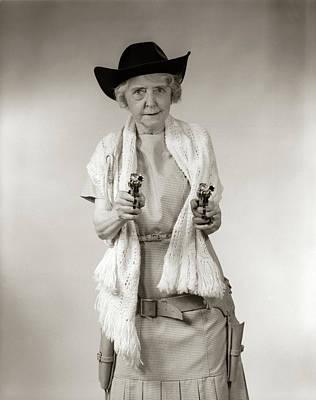 1950s Granny Cowgirl Wearing Hat & Art Print