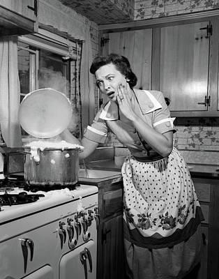 1950s Horrified Woman Housewife Taking Art Print