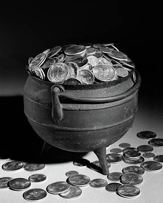 1950s Iron Pot Overflowing With Coins Art Print