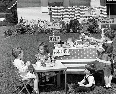 Banana Photograph - 1950s Kids In Backyard Playing Store by Vintage Images