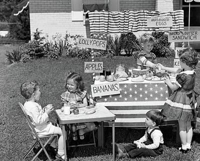 1950s Kids In Backyard Playing Store Art Print