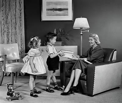 1950s Little Boy And Girl Son Art Print
