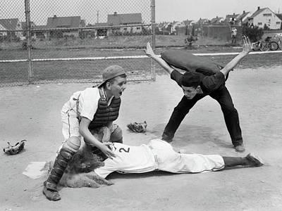 1950s Little League Umpire Calling Art Print