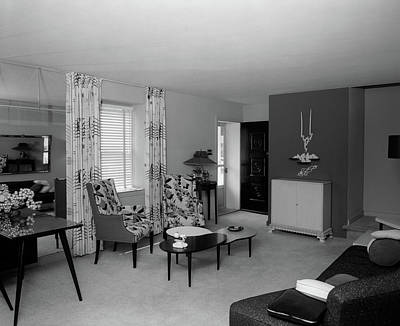 Venetian Blinds Photograph - 1950s Living Room Interior by Vintage Images